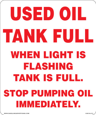 CAS18-013 Aluminium Sign - Used Oil...