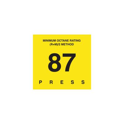D-29-87 Octane & Cetane Rating Decal - MINIMUM OCTANE...