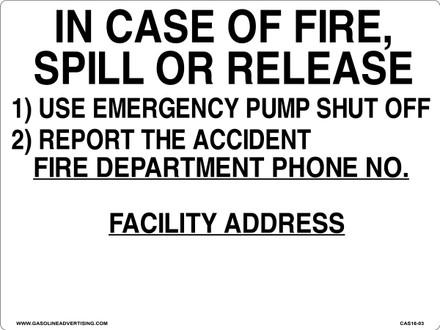 CAS16-03 Aluminium Sign - In Case Of...