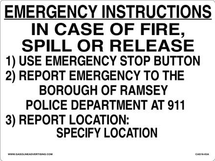 CAS16-03A Aluminium Sign - Emergency Instructions...