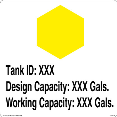 CAS16-18 Aluminium Sign - Tank ID...