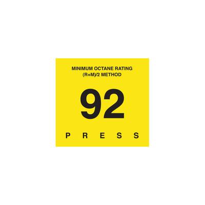 D-29-92 Octane & Cetane Rating Decal - MINIMUM OCTANE...