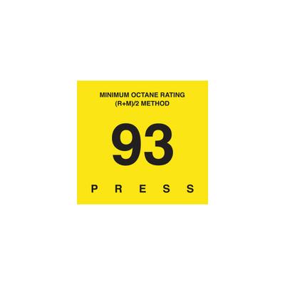 D-29-93 Octane & Cetane Rating Decal - MINIMUM OCTANE...