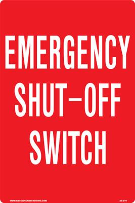 AS-54V Aluminum Sign - Emergency Shut Off Switch