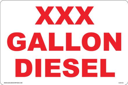 CAS10-30 Aluminium Sign - XXX Gallon...