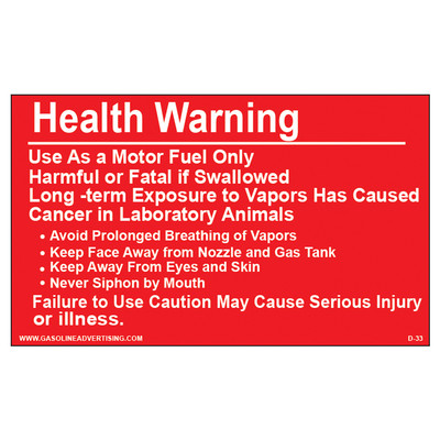 D-33 Health Warning & Safety Decal - HEALTH WARNING...