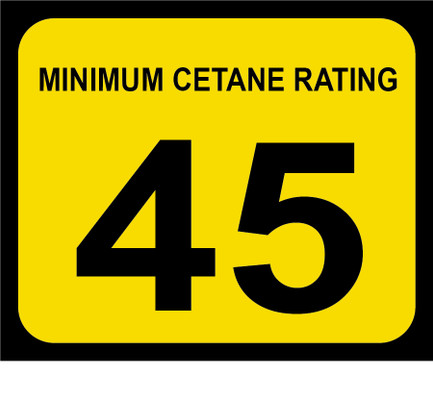 D-20-45 Octane & Cetane Rating Decal - MINIMUM CETANE...