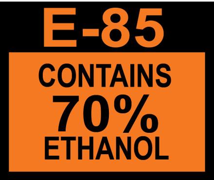D-20-E85-70 Octane & Cetane Rating Decal - E85 70%...