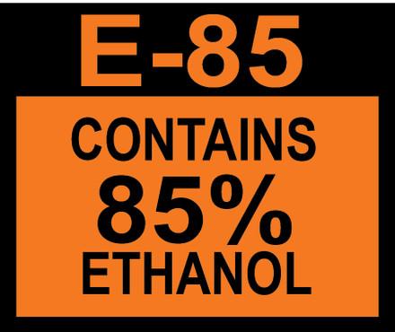 D-20-E85-85 Octane & Cetane Rating Decal - E85 85%...