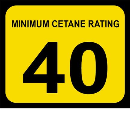 D-20-40 Octane & Cetane Rating Decal - MINIMUM CETANE...