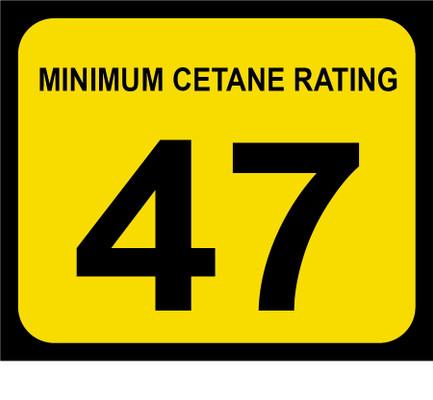 D-20-47 Octane & Cetane Rating Decal - MINIMUM CETANE...