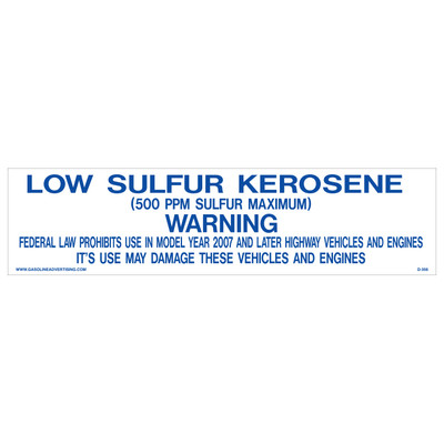 D-356 Pump Ad. Panel Decal - LOW SULFUR KEROSENE...