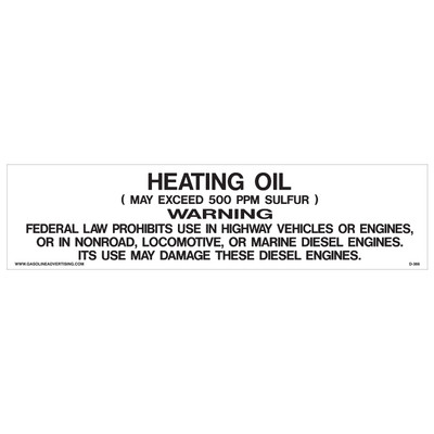 D-366 Pump Decal - HEATING OIL