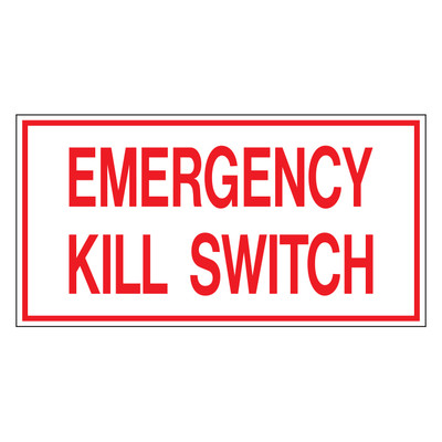 D-37 Emergency Shut off Decals - EMERGENCY KILL...