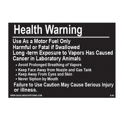 D-44 Health Warning & Safety Decal - HEALTH WARNING...