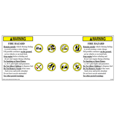 D-449 Fueling instructions Decal - WARNING...