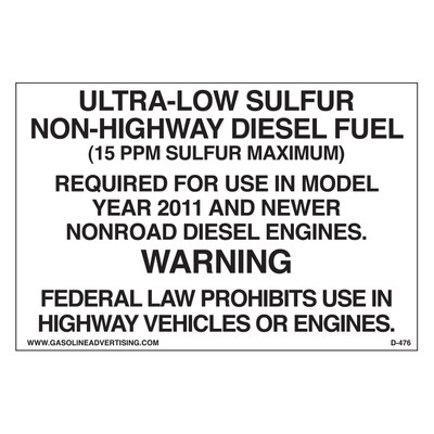 D-476 EPA Non-Road Diesel Decal - ULTRA-LOW...