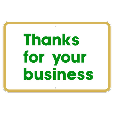 AS-04 Aluminum Sign - Thank You..