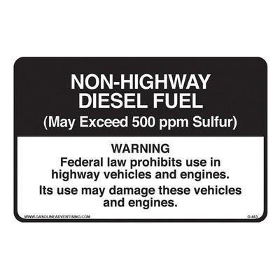 D-483 Highway Diesel Decal - NON HIGHWAY DIE...