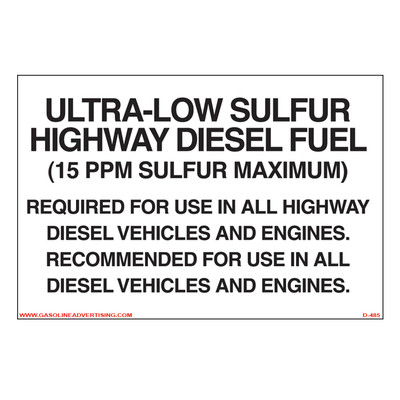 D-485 Highway Diesel Decal - ULTRA-LOW SUL...