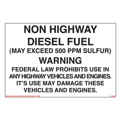 D-486 Non Road Diesel Decal - NON HIGHWAY DIE...