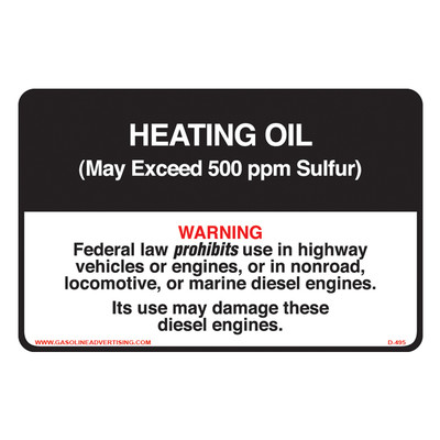 D-495 Non-Road Diesel Decal - HEATING OIL...