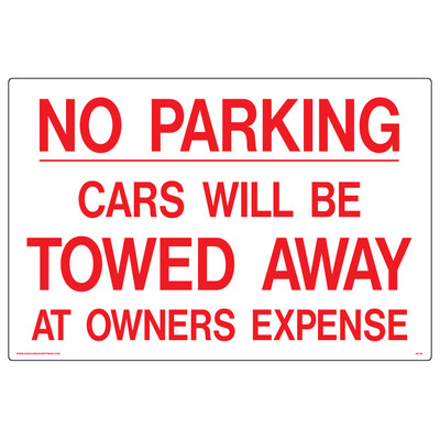 AS-08 Aluminum Sign-NO PARKING Cars Will Be Towed..