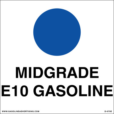 D-679E API Color Coded Decal - MIDGRADE E1O GASOLINE