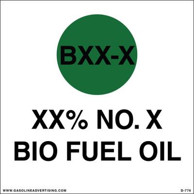 D-776 API Color Coded Decal - XX% NO. X BIO FUEL OIL
