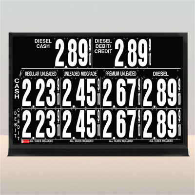 """5 Grades 2 Levels M590 Series Pump Top Fuel Price sign w/ 4.5"""" Magnetic Digits"""