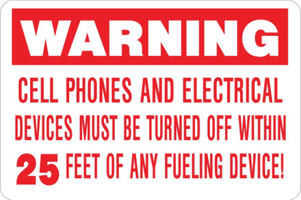 AS-23 Aluminium Sign - Warning  Cell Phones