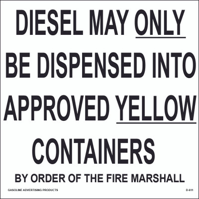 D-611 Regulation Decal - DIESEL MAY...
