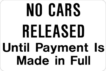 AS-26 Aluminium Sign - No Cars Released