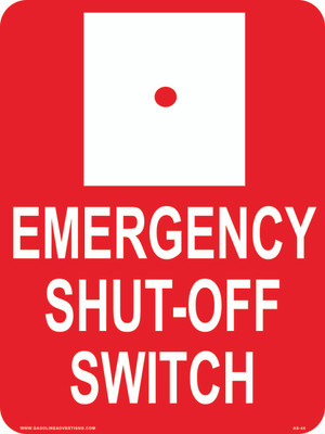 AS44 Aluminum Sign - Emergency Shut Off Switch