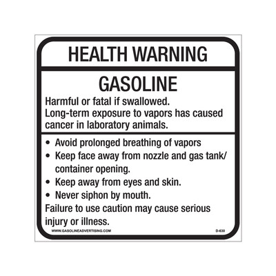D-630 Health Warning & Safety Decal - HEALTH WARNING...