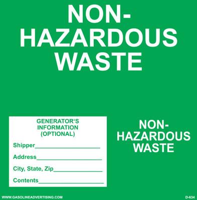 D-634 NFPA & Hazardous Waste Decal - NON-HAZARDOUS...