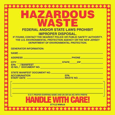 D-635 NFPA & Hazardous Waste Decal - HAZARDOUS WASTE...