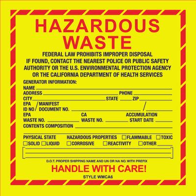 D-636 NFPA & Hazardous Waste Decal - HAZARDOUS WASTE CA...