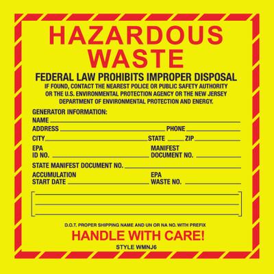 D-637 NFPA & Hazardous Waste Decal - HAZARDOUS WASTE NJ...