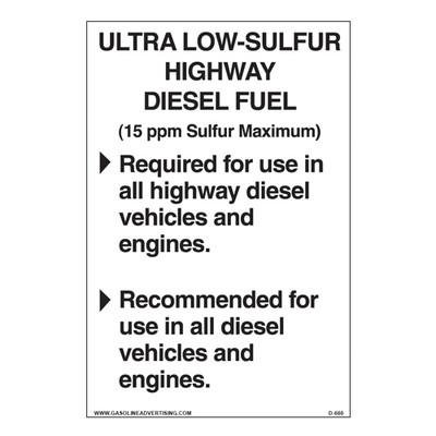D-660 EPA Highway Diesel Decal - ULTRA LOW...