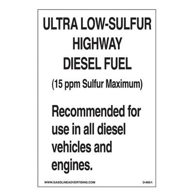 D-660A EPA Highway Diesel Decal - ULTRA LOW...