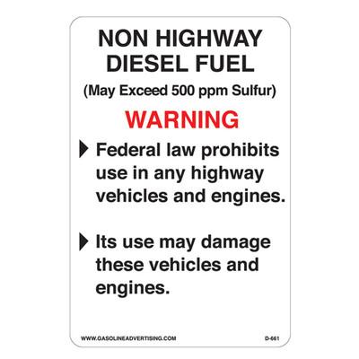 D-661 EPA Highway Diesel Decal - NON HIGHWAY...