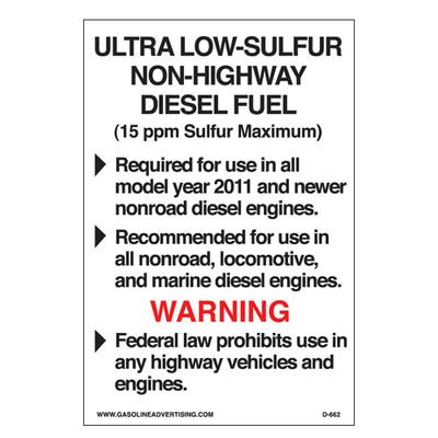 D-662 EPA Highway Diesel Decal - ULTRA LOW...