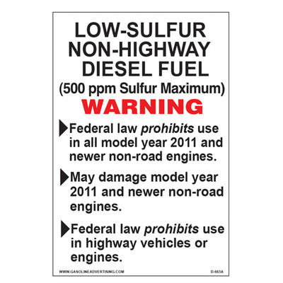 D-663A EPA Non-Road Diesel Decal - LOW-SULFUR...