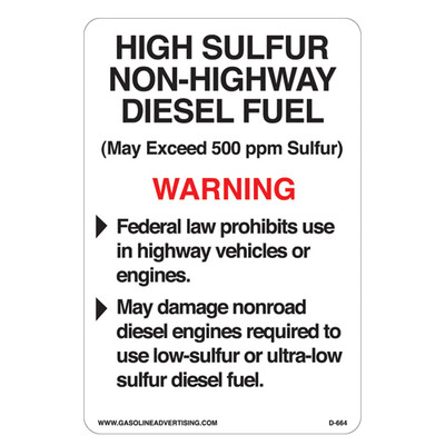 D-664 EPA Non-Road Diesel Decal - HIGH SULFUR...