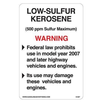 D-667 EPA Rgulated Kerosene Decal - LOW-SULFUR...