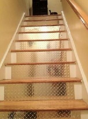 Diamond plate from CutsMetal makes your stairs look better lit