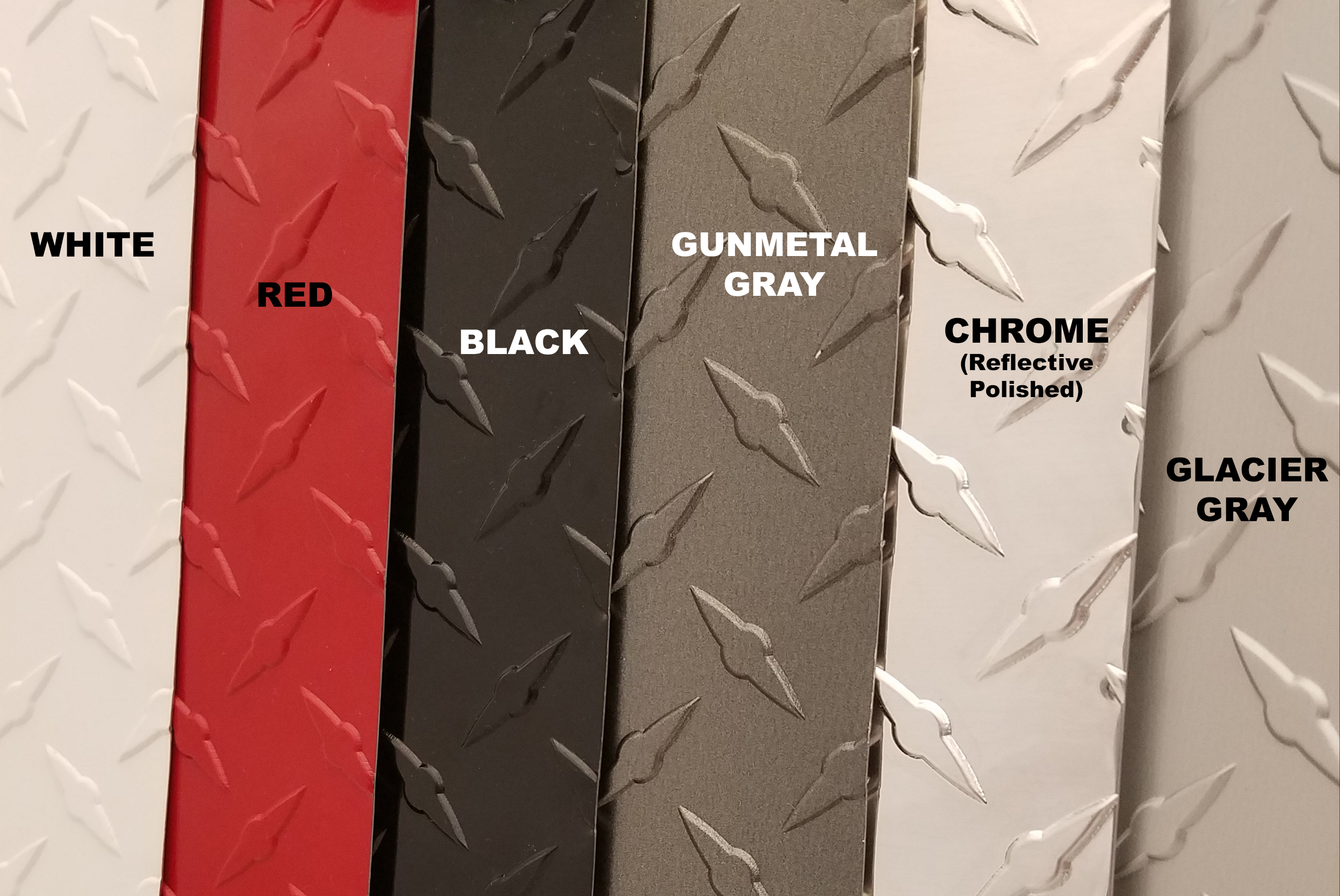 Colored diamond plate choices from CutsMetal