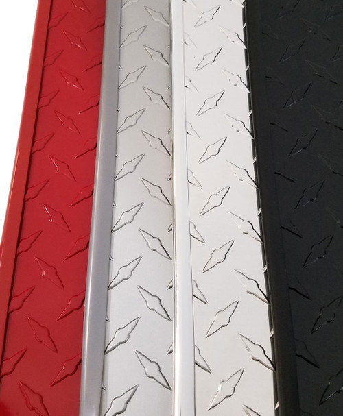 "Colored vinyl trim on matching colored sheets red, light gray, silver ""chrome"" reflective/polished, black"