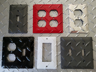 "Painted colored diamond plate outlet and switch plate covers ""chrome"" silver polished/reflective, black, gunmetal (dark) gray, red, white"
